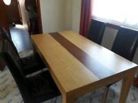 Dining Table 6 x Brown Chairs