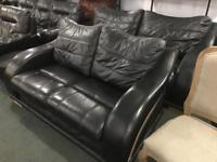Stunning black leather 3 and 2 sofas