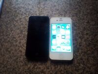 2× apple iPhone 4 one works perfect one turns on needs new screen