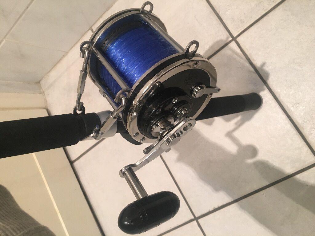 Penn 9 0 senator fishing reel shimano 50 80 fishing rod for Shark fishing rod and reel combo