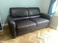 Brown leather two seater sofa / settee