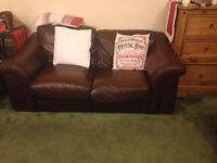 Leather Italian sofas 2+3 (Brown leather)