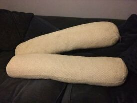 Pair of long cream Kathy Cunliffe cushions / excellent condition