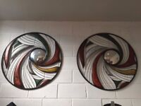 METAL-WALL-ART-Peacock-Feather-MIRROR-ROUND-90CM