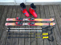 Kids skis, boots and poles - used but fully functional at bargain price suit ages 8-12 ish