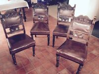 4 Carved Solid Wood Dining Chairs - Antique/ Vintage