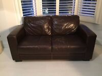Brown leather two-seater sofa FREE pickup only