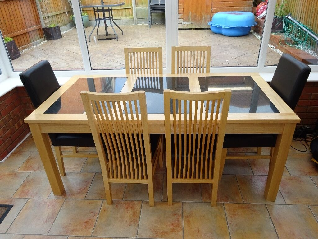 Marble Dining Table And 6 Chairs: For Sale Beautiful Solid Oak Dining Table With Marble