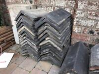 Large Job Lot Collection Old Victorian Blue Clay Ridge Tiles