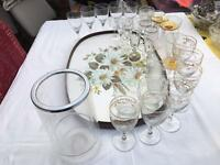 32 VARIOUS GLASSES , TRAY, AND WINE COOLER