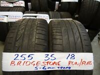 MATCHING PAIR 255 35 18 BRIDGESTONE RUNFLATS 5-6MM TREAD £80 PAIR SUPP & FITD (loads more av} TXT S