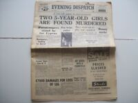 Scarce Collectable Edinburgh Evening Dispatch. June 13th 1958. Explosion in Muirhouse.