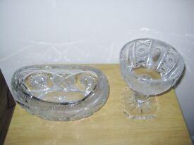 Two Quality Heavy Cut Glass Crystal Bowls.