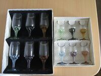 BOXED WINE and LIQUEUR GLASSES