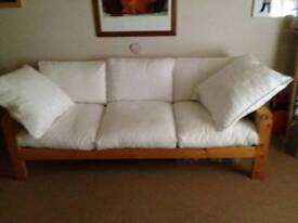 White 3 Seater Sofa plus 2 Large Cushions (All Covers Machine Washable) £45 ono