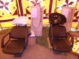 Hair backwash chairs x 2 - second hand gwo with sinks