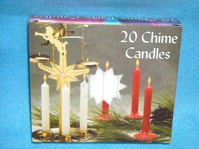 "Christmas Angel Chime Candles, White, Box of 20, NIB, 1/2"" by 4"" tall, Dripless"