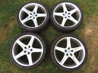 "8J x 19"" Radius Alloy wheels PCD 5 x 112 ET 35 set of 4 with centre caps vw audi"