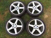 """8J x 19"""" Radius Alloy wheels PCD 5 x 112 ET 35 set of 4 with centre caps vw audi"""