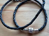 Pandora leather plaid choker/bracelet