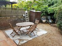 Teak Patio Table and Two Chairs