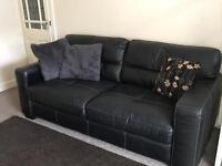 Black Leather 2 seater sofa DFS