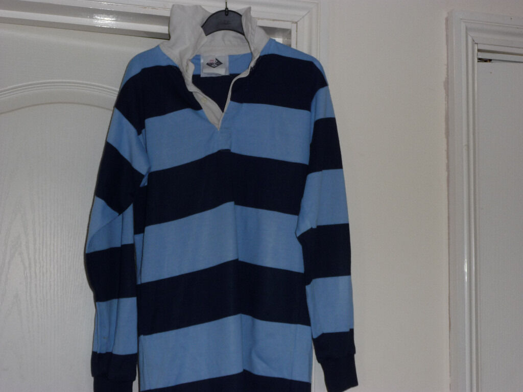 Navy And Light Blue Rugby Shirt 34 Inch Chest