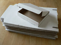 49 White Postal Boxes. Single-walled. Ideal for Cards. Small Parcel size.