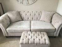 Next Gosford Buttoned large sofa (3 seats) plus cushions and footstool -excellent condition