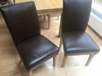 Brown leather Dining chairs set of 2-Furniture village
