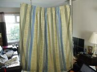Pair of Large Heavy Cotton Living / Bedroom Curtains with Matching Pelmet, Blue / Yellow,