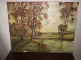 Retro Original oil painting, landscape, riverscape, oil on canvas 41x31cm signed unframed