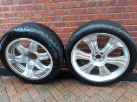 two sets of alloy wheels with tyres