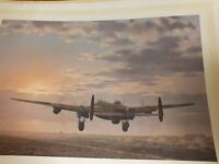 "Limited edition print signed by artist of a Lancaster bomber, ""Night Mission Ahead""."