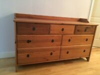 Matt antique pine chest of drawers - only £60