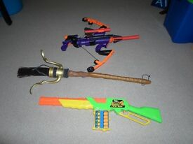 Toys x 3 - 'Avengers' hawkeye bow / 'Nerf' style rapid rifle' / 'Harry Potter Broomstick' ideal Xmas