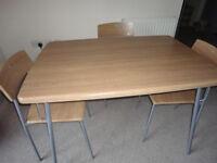 Kitchen Oak Table 107x73x75cm + 4 kitchen chairs