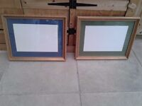PAIR OF PICTURE FRAMES GLAZED WITH MOUNT BOARDS GOLD COLOUR WOOD FRAMES READY TO HANG