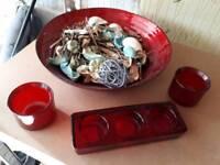 Modern red glass accessories