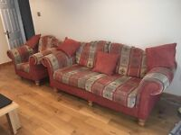 3-1-1 Fabric terracotta pattern sofa with cushions