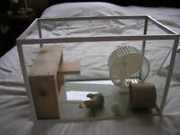 Glass tank for small animals, hamster, mice etc with accessories and brand new wooden shelving