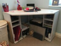 Large white desk with loads of storage