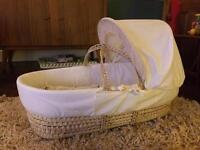 Baby wicker Moses basket with hood
