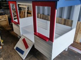 Childrens House Bed (White & Red With Blue Roof)