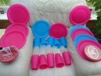 PINK & BLUE PIC NIC PLATES AND BEAKERS