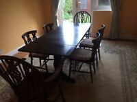 Dark Wood Dining Room Table & 6 Chairs