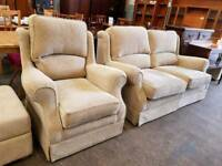 highback beige fabric two seater sofa with Matching Armchair
