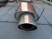 stainless piper performance back box to fit honda civic type r ep3 or honda civic sport ep2