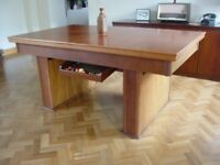 Unique Mid-Century Teak Slate Pool Snooker Dining Table Adjustable Height Hidden Pockets