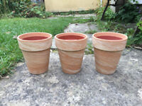 3 Adobe plant pots + plastic inner pots